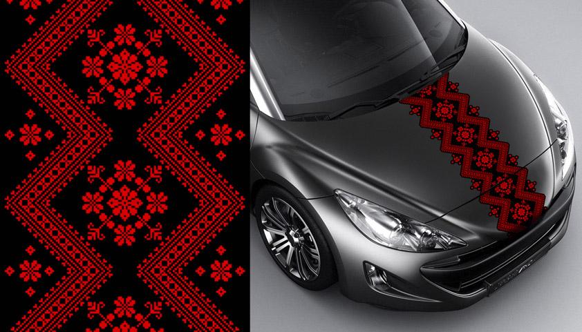 А015 – Цветочный орнамент «Красное на черном»