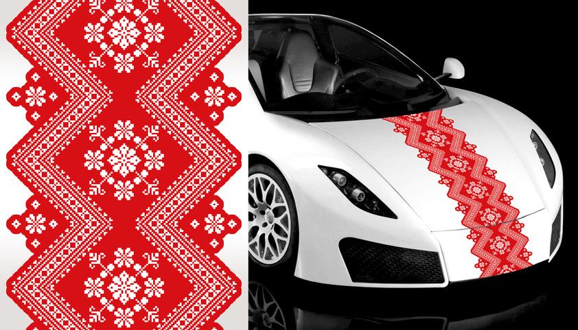 А016 – Цветочный орнамент «Белое на красном»